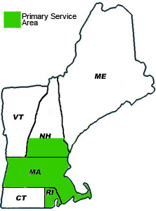areas we service - MA, RI and Southern NH